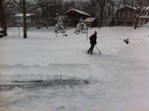 Shep shoveling